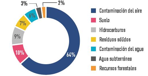 Gráfico de porcentajes de la contaminación en México